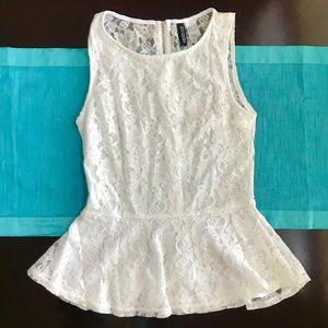 H&M White Lace Tank Top